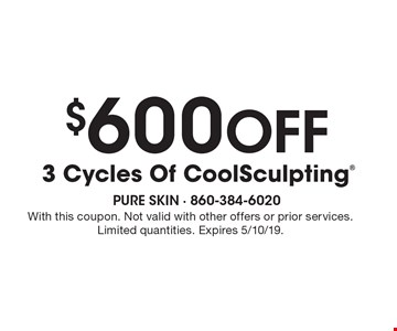 $600 Off 3 Cycles Of CoolSculpting. With this coupon. Not valid with other offers or prior services. Limited quantities. Expires 5/10/19.
