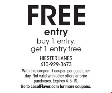 Free entry. Buy 1 entry, get 1 entry free. With this coupon. 1 coupon per guest, per day. Not valid with other offers or prior purchases. Expires 4-5-19. Go to LocalFlavor.com for more coupons.