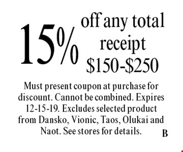 15% off any total receipt $150-$250. Must present coupon at purchase for discount. Cannot be combined. Expires 12-15-19. Excludes selected product from Dansko, Vionic, Taos, Olukai and Naot. See stores for details.