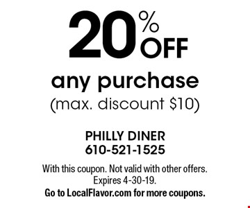 20% off any purchase (max. discount $10). With this coupon. Not valid with other offers. Expires 4-30-19. Go to LocalFlavor.com for more coupons.