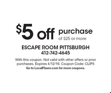 $5 off purchase of $25 or more. With this coupon. Not valid with other offers or prior purchases. Expires 4/12/19. Coupon Code: CLIP5 Go to LocalFlavor.com for more coupons.