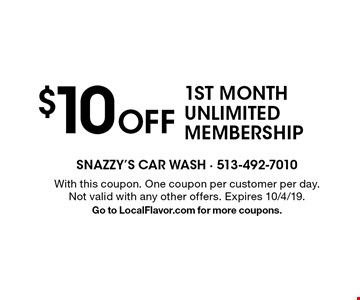 $10 Off 1ST MONTH UNLIMITED MEMBERSHIP. With this coupon. One coupon per customer per day. Not valid with any other offers. Expires 10/4/19. Go to LocalFlavor.com for more coupons.