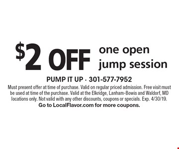 $2 off one open jump session. Must present offer at time of purchase. Valid on regular priced admission. Free visit must be used at time of the purchase. Valid at the Elkridge, Lanham-Bowis and Waldorf, MD locations only. Not valid with any other discounts, coupons or specials. Exp. 4/30/19. Go to LocalFlavor.com for more coupons.