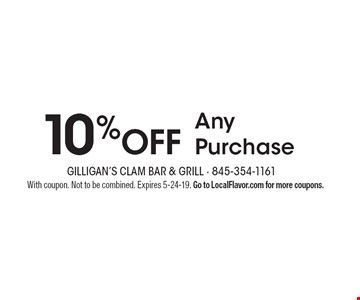 10% OFF Any Purchase. With coupon. Not to be combined. Expires 5-24-19. Go to LocalFlavor.com for more coupons.