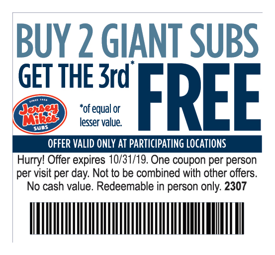 photo relating to Jersey Mikes Printable Coupons known as - Jersey Mikes Discount coupons