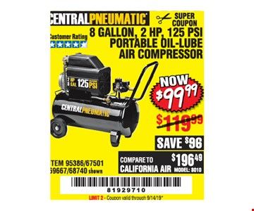 Central Pneumatic 8 Gallon, 2 Hp, 125 Psi Portable Oil-Lube Air Compressor $99.99. LIMIT 2 - Original coupon only. No use on prior purchases after 30 days from original purchase or without original receipt. Valid through 9/14/19.