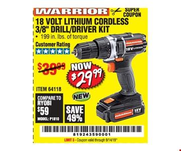 Warrior 18 volt lithium cordless 3/8