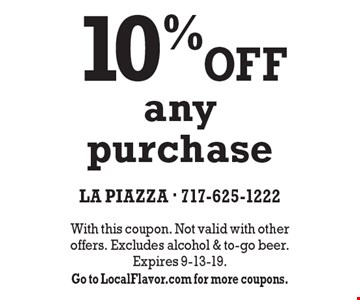 10% OFF any purchase. With this coupon. Not valid with other offers. Excludes alcohol & to-go beer. Expires 9-13-19. Go to LocalFlavor.com for more coupons.