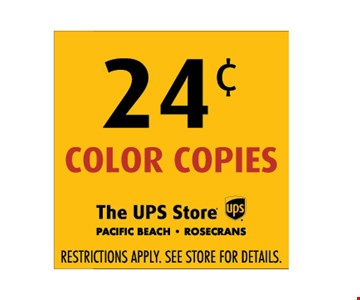 .24 cent color copies Restrictions apply. See store for details.
