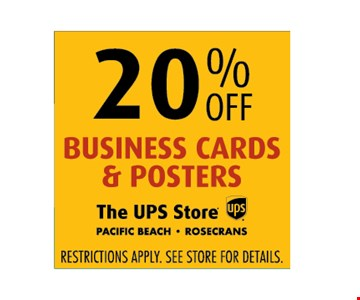 20% off business cards and posters Restrictions apply. See store for details.