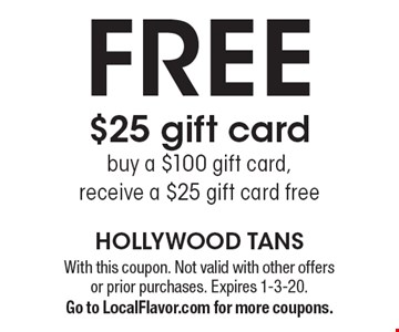FREE $25 gift card. Buy a $100 gift card, receive a $25 gift card free. With this coupon. Not valid with other offers or prior purchases. Expires 1-3-20.Go to LocalFlavor.com for more coupons.