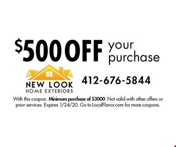 $500 off your purchase. With this coupon. Minimum purchase of $3000. Not valid with other offers or prior services. Expires 1/24/20. Go to LocalFlavor.com for more coupons.