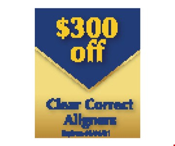 $300 Off Clear Correct Aligners Expires 5/10/19.