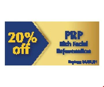 20% Off PRP rich facial rejuvenation. Expires 05/10/19.