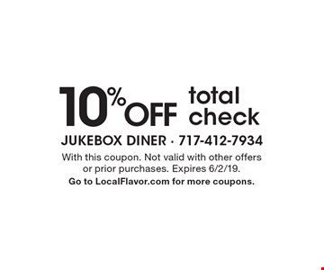 10%OFF total check. With this coupon. Not valid with other offers or prior purchases. Expires 6/2/19. Go to LocalFlavor.com for more coupons.