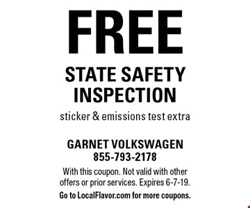 Free state safety inspection sticker & emissions test extra. With this coupon. Not valid with other offers or prior services. Expires 6-7-19. Go to LocalFlavor.com for more coupons.