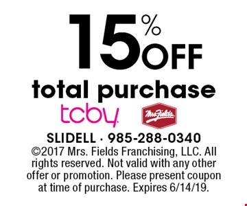 15% Off total purchase. 2017 Mrs. Fields Franchising, LLC. All rights reserved. Not valid with any other offer or promotion. Please present coupon at time of purchase. Expires 6/14/19.