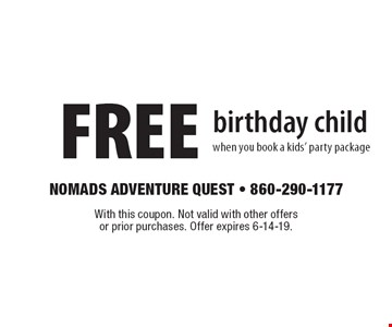 FREE birthday child when you book a kids' party package. With this coupon. Not valid with other offers or prior purchases. Offer expires 6-14-19.