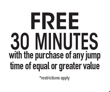 FREE 30 Minutes with the purchase of any jump time of equal or greater value. *1 per customer. Cannot combine with other offers or specials. Valid only at the San Marcos location. Expires 5-10-19