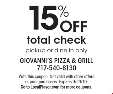 15% OFF total check. Pickup or dine in only. With this coupon. Not valid with other offers or prior purchases. Expires 9/20/19. Go to LocalFlavor.com for more coupons.