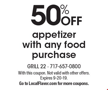 50% OFF appetizer with any food purchase. With this coupon. Not valid with other offers. Expires 9-20-19. Go to LocalFlavor.com for more coupons.