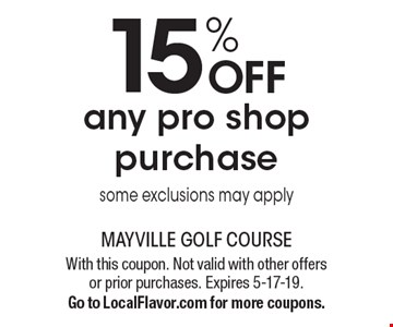 15% OFF any pro shop purchase some exclusions may apply. With this coupon. Not valid with other offers or prior purchases. Expires 5-17-19.Go to LocalFlavor.com for more coupons.
