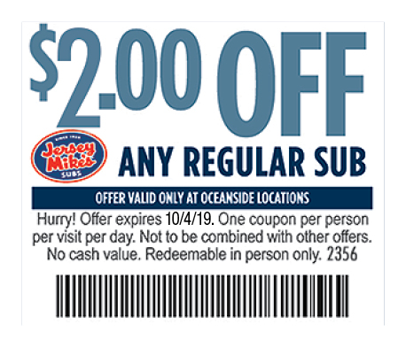 graphic about Jersey Mike's Printable Coupons named - Jersey Mikes Subs Discount coupons