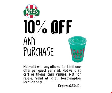 10% off Any purchase. Not valid with any other offer. Limit one offer per guest per visit. Not valid at cart or theme park venues. Not for resale. Valid at Rita's Northampton location only. Expires 6.30.19.