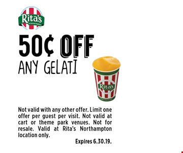 50¢ off Any gelati. Not valid with any other offer. Limit one offer per guest per visit. Not valid at cart or theme park venues. Not for resale. Valid at Rita's Northampton location only. Expires 6.30.19.