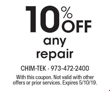 10% Off any repair. With this coupon. Not valid with other offers or prior services. Expires 5/10/19.