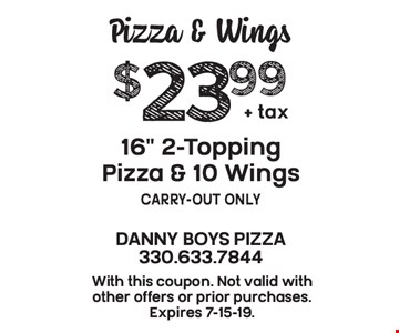 Pizza & Wings $23.99 + tax 16
