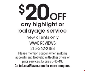 $20 OFF any highlight or balayage service. New clients only. Please mention coupon when making appointment. Not valid with other offers or prior services. Expires 6-15-19.Go to LocalFlavor.com for more coupons.