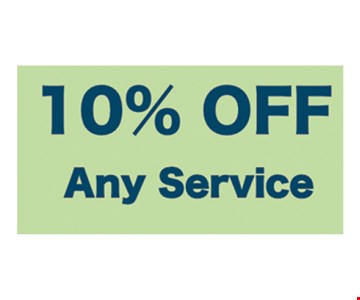 10% off any service. Must present at time of estimate. Not valid with other offers. Subject to onsite inspection.