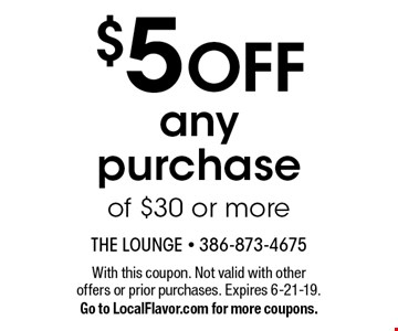 $5 OFF any purchase of $30 or more. With this coupon. Not valid with other offers or prior purchases. Expires 6-21-19.Go to LocalFlavor.com for more coupons.