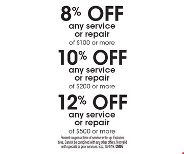 12% off any service or repair of $500 or more. 10% off any service or repair of $200 or more. 8% off any service or repair of $100 or more. Present coupon at time of service write-up. Excludes tires. Cannot be combined with any other offers. Not valid with specials or prior services. Exp. 10/4/19. CM07