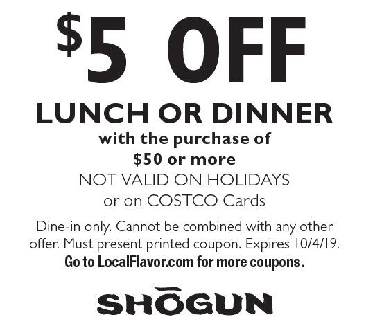 picture regarding Printable Coupons Shogun known as - Shogun Coupon codes