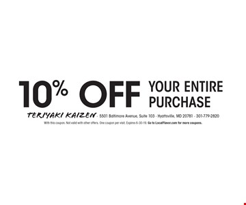 10% OFF Your entire purchase. With this coupon. Not valid with other offers. One coupon per visit. Expires 6-30-19. Go to LocalFlavor.com for more coupons.