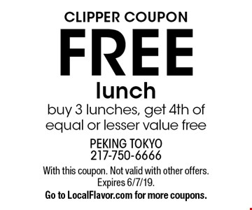 Clipper coupon FREE lunch. Buy 3 lunches, get 4th of equal or lesser value free. With this coupon. Not valid with other offers. Expires 6/7/19. Go to LocalFlavor.com for more coupons.