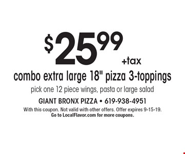 $25.99+tax combo extra large 18