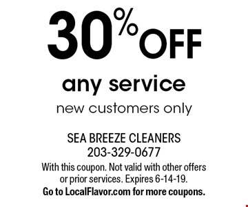 30% OFF any service new customers only. With this coupon. Not valid with other offers or prior services. Expires 6-14-19.Go to LocalFlavor.com for more coupons.