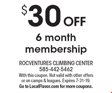 $30 OFF 6 month membership. With this coupon. Not valid with other offers or on camps & leagues. Expires 7-31-19. Go to LocalFlavor.com for more coupons.