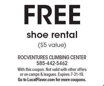FREE shoe rental($5 value). With this coupon. Not valid with other offers or on camps & leagues. Expires 7-31-19. Go to LocalFlavor.com for more coupons.