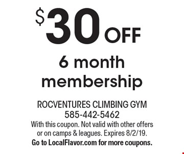 $30 OFF 6 month membership. With this coupon. Not valid with other offers or on camps & leagues. Expires 8/2/19. Go to LocalFlavor.com for more coupons.