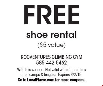 FREE shoe rental ($5 value). With this coupon. Not valid with other offers or on camps & leagues. Expires 8/2/19. Go to LocalFlavor.com for more coupons.