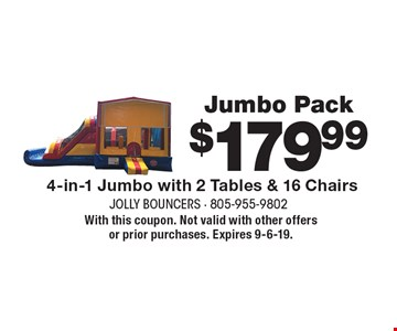 Jumbo Pack. $179.99 4-in-1 Jumbo with 2 Tables & 16 Chairs. With this coupon. Not valid with other offers or prior purchases. Expires 9-6-19.
