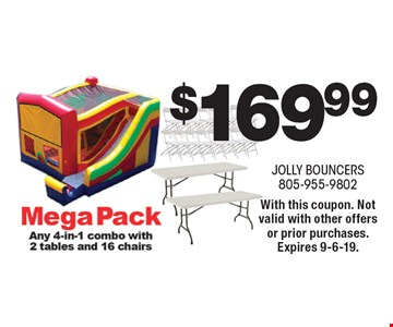 $169.99 Mega Pack. Any 4-in-1 combo with 2 tables and 16 chairs. With this coupon. Not valid with other offers or prior purchases. Expires 9-6-19.