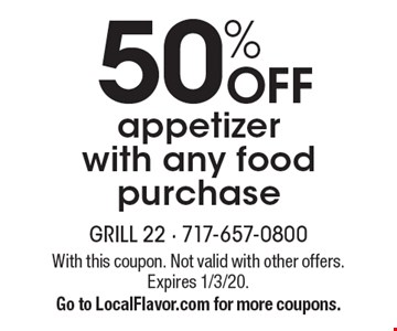 50% off appetizer with any food purchase. With this coupon. Not valid with other offers. Expires 1/3/20. Go to LocalFlavor.com for more coupons.