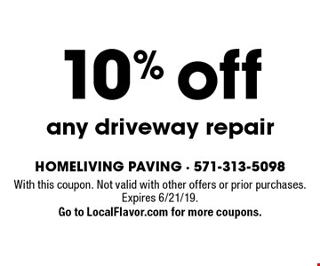 10% off any driveway repair. With this coupon. Not valid with other offers or prior purchases. Expires 6/21/19. Go to LocalFlavor.com for more coupons.