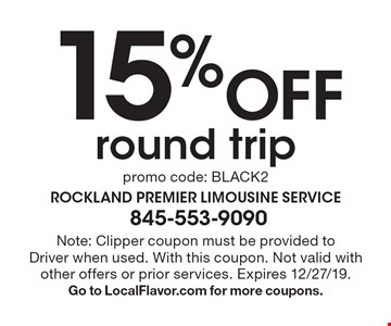 15% Off round trip promo code: BLACK2. Note: Clipper coupon must be provided to Driver when used. With this coupon. Not valid with other offers or prior services. Expires 12/27/19. Go to LocalFlavor.com for more coupons.