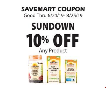 10% off Sundown. Any Product. SAVEMART COUPON. Good Thru 6/24/19- 8/25/19